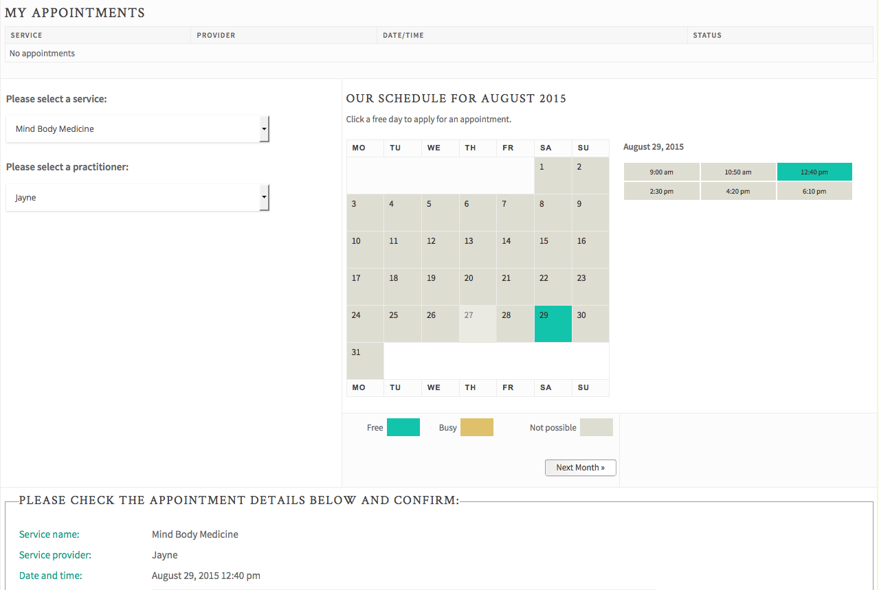 Our Easy Booking tool